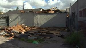High winds described as a tornado left debris in the Vermont-Slauson neighborhood on Dec. 12, 2014. (Credit: KTLA)