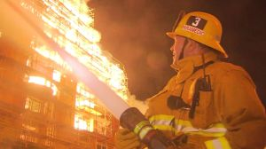 A fire burned at a Downtown LA apartment building on Monday, December 8, 2014. Courtesy: KTLA