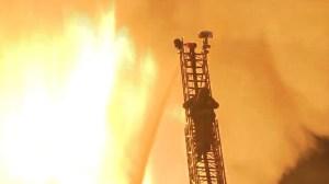 Firefighters battled a blaze in downtown L.A. on Dec. 8, 2014. (Credit: KTLA)