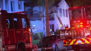 A fire broke out at an apartment in the 400 block of North Adams Street in Glendale, pictured, on Dec. 26, 2014. (Credit: KTLA)