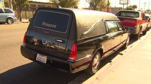 A hearse containing a coffin was stolen from the Ebenezer Baptist Church. (Credit: KTLA)