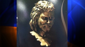 The Jesus sculpture taken from a gallery in Indiana is seen in this photo provided by WXIN.