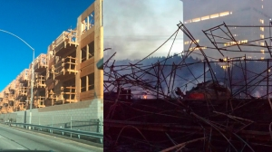 A before photo (left) shows a 536-unit apartment complex in downtown L.A. that was under construction before catching fire (right) on Dec. 8, 2014. (Before photo courtesy of Madison Taylor from Los Angeles. After photo by Eric Spillman/ KTLA)