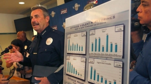 LAPD Chief Charlie Beck addresses a July 2013 news conference where he and Los Angeles Mayor Eric Garcetti announced midyear crime statistics. (Credit: Mel Melcon/Los Angeles Times)