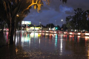 The intersection of Torrance Boulevard and Western Avenue was flooded by a storm on Dec. 16, 2014. (Credit: Zac Shaw)