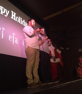 "Evan Goldberg and Seth Rogen speak to viewers of 12:30 a.m. screening of ""The Interview"" at Cinefamily in L.A.'s Fairfax district on Dec. 25, 2014. (Credit: Kirk Hawkins/KTLA)"