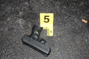 A handgun recovered during the Antonio Martin shooting investigation is shown. (Credit: St. Louis County Police)