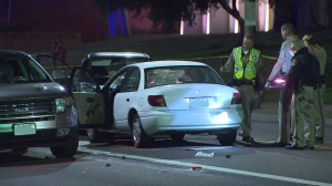 Redondo Beach police were investigating after an alleged DUI driver drove into a group of pedestrians before crashing into an SUV on Dec. 17, 2014. (Credit: KTLA)