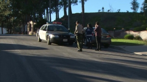The Sheriff's Department was a responding to a fatal stabbing in the hills above La Verne on Dec. 26, 2014. (Credit: KTLA)