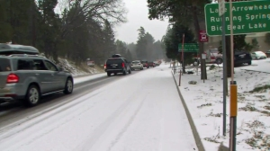 Traffic was backed up outside of Lake Arrowhead on Highway 18 on Dec. 30, 2014. The roadway was later shut down closer to Big Bear Lake. (Credit: KTLA)