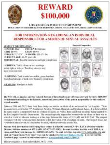 "A flier released in June 2013 describes the reward and LAPD/FBI effort to arrest the ""teardrop rapist."""