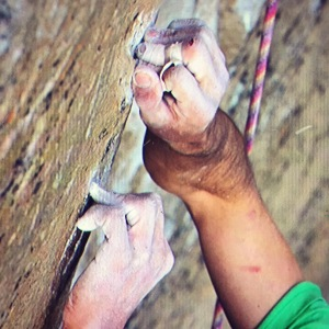 Kevin Jorgeson's hands are shown as they grip the razor edge on Pitch 15 on Jan. 4, 2015. (Credit: Adidas Outdoor)