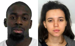 Amedy Coulibaly, 32, left, was wanted in connection with the shooting of a French policewoman and was suspected of being involved in a hostage situation at a Kosher store in the Porte de Vincennes area of Paris. Hayat Boumeddiene, 26, is a known associate of Coulibaly. (Credit: Direction centrale de la Police judiciaire via Getty Images)