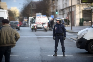 Police mobilize with reports of a hostage situation at Port de Vincennes on Jan. 9, 2015, in Paris. A huge manhunt for the two suspected gunmen in Wednesday's deadly attack on Charlie Hebdo magazine was in its third day. (Credit: Antoine Antoniol/Getty Images)
