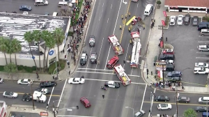 Police and firefighters responded to a fatal crash in Wilmington on Jan. 29, 2015. (Credit: KTLA)