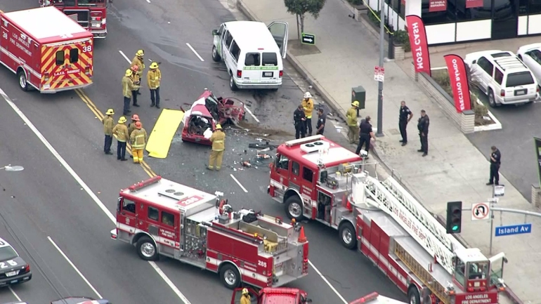 A fatal crash in Wilmington on Jan. 29, 2015, involved a van and a car. (Credit: KTLA)