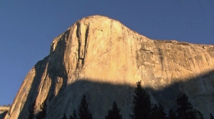 Tommy Caldwell and Kevin Jorgeson were near the top of the Dawn Wall on Yosemite' El Capitan on Jan. 14, 2015. (Credit: KTLA)