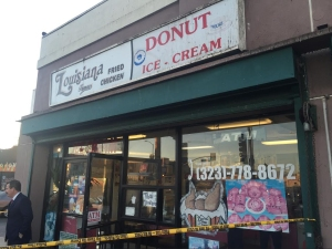 A man was fatally stabbed by an alleged robber on Jan. 13, 2015, in  South L.A. (Credit: KTLA)
