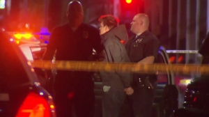 A man was taken into custody following a deadly shooting in Hollywood on Jan. 5, 2015. (Credit: KTLA)