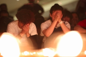Families of the MH370 passengers hold a candlelight vigil in Beijing, China on Tuesday, April 8, 2014. (Credit: Scott Clotworthy/CNN)