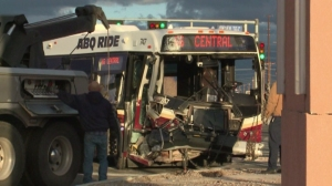 A public bus collided with a pickup truck in Albuquerque, New Mexico, on Friday, Jan. 2, 2014. (Credit: KOAT/via CNN)