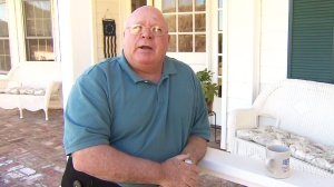 Homeowner Jeff Preach talks about his ordeal with an alleged home-invasion robber Sunday night. (Credit: KTLA)