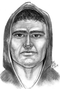 A Sheriff's Department sketch shows a man seen leaving the scene of the killing of Troy and Shirley Isom.