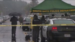 An investigation was underway in South Gate after a man was fatally shot by police on Jan. 11, 2015. (Credit: KTLA)