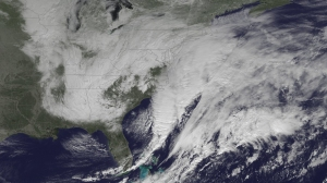 Blizzard Warnings are in effect for the coastal areas from New Jersey to Maine. A new surface low will develop along the North Carolina/southeast Virginia coast this morning and intensify rapidly as it moves northeastward off the mid-Atlantic coast. (Credit: NOAA)