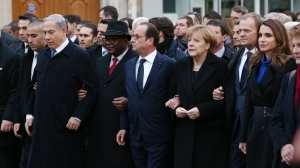 Israeli Prime Minister Benjamin Netanyahu, French President Francois Hollande, German Chancellor Angela Merkel and Queen Rania of Jordan attend a mass unity rally following the recent Paris terrorist attacks on January 11, 2015 in Paris, France.  (Credit: Dan Kitwood/Getty Images)