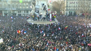 "A large crowd gathered in France for a massive ""unity rally"" on Jan. 11, 2015. (Credit: BFM TV via CNN)"