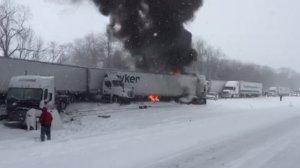 Dozens of vehicles were involved a fiery pileup on snowy Interstate 94 near Battle Creek, Michigan, on Jan. 9, 2015. (Credit: WXMI)