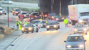 A pedestrian was fatally struck by a vehicle on the 5 Freeway in Boyle Heights on Feb. 23, 2015. (Credit: KTLA)
