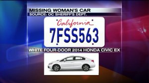 Alonso's car was described as a white four-door 2014 Honda Civic EX with California license No. 7FSS563. (Credit: KTLA)