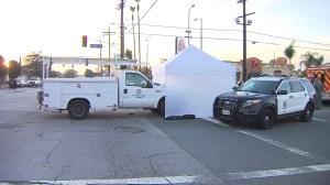 An LADWP truck fatally struck a teen cyclist in Granada Hills on Feb. 18, 2015. (Credit: KTLA)