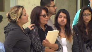 Erica Alonso's family appears speaks during a news conference on Friday, Feb. 20, 2015. (Credit: KTLA)