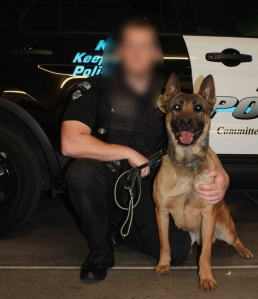 Michael Mastaler is shown with Jango in a photo posted to the Rialto Police Department website. KTLA has chosen to blur his face.