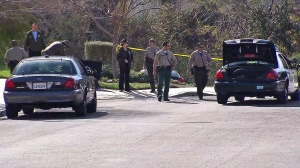 Authorities were searching for a man suspected of stealing a truck in Newhall on Monday, Feb. 2, 2015. (Credit: KTLA)