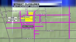 Street closures were in effect Sunday, Feb. 22, 2015, through Monday morning due to the Oscars. (Credit: KTLA)