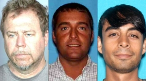William Clyde Thompson, John David Yoder, and Erick Alan Monsivais are all suspected of involvement in a human trafficking and child pornography ring. They are shown in photos released Feb. 17, 2015, by the Riverside County DA's office.