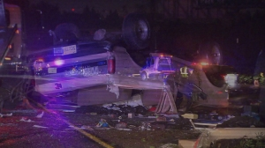 A hit-and-run caused a white Ford Bronco to overturn on the 60 Freeway, and a SigAlert to be issued on Feb. 23, 2015, according to CHP. (Credit: KTLA)