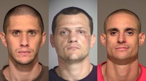 From left, Brian Arthur Wendork, 25, Brian Eugene Stewart, 32, and Nicholas Bobby Petrov, 28, are seen in booking photos. (Credit: Simi Valley Police Department)