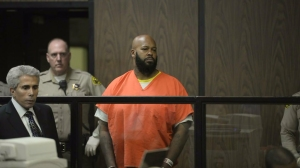 """Marion """"Suge"""" Knight was arraigned Feb. 3, 2015, pleading not guilty to murder and attempted murder in a Compton courtroom. (Credit: Pool)"""