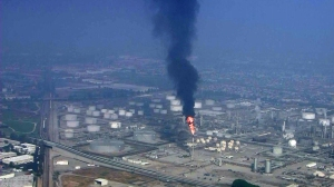 Smoke could be seen rising from miles away from the ExxonMobil Torrance Refinery on Feb. 18, 2015. (Credit: KTLA)