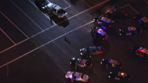 The driver of a truck involved in a pursuit lies on the street nearly 40 minutes after a crash ended in chase in Palmdale on Feb. 23, 2015. (Credit: KTLA)