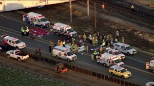 A triage area was setup to assist those injured after a train struck a vehicle in Ventura County on Feb. 24, 2015. (Credit: KTLA)
