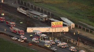 Multiple cars were derailed after a Metrolink train struck a vehicle in Ventura County on Feb. 24, 2015. (Credit: KTLA)