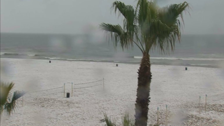 Up to an 1/2 inch of hail fell on Huntington Beach on March 2, 2015, according to the National Weather Service. (Credit: KTLA)