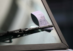 A parking ticket is seen on the windshield of a FedEx truck in San Francisco in this file photo. (Credit: Justin Sullivan/Getty Images)