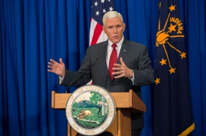 Indiana Gov. Mike Pence speaks during a press conference March 31, 2015, at the Indiana State Library in Indianapolis. (Credit: Aaron P. Bernstein/Getty Images)